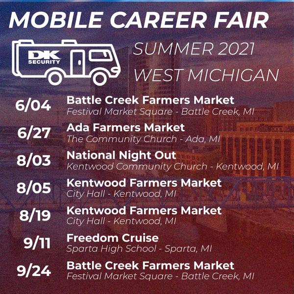 DK Security Mobile Career Fair Schedule 2021