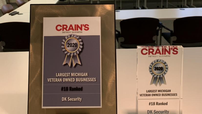 DK Security Crain's Detroit Business Journal Top Largest Veteran-Owned Businesses Michigan
